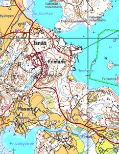 Isnäsin kartta - Isnäs karta
